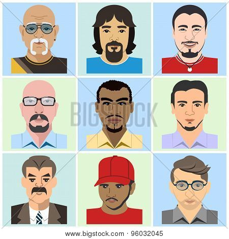 Avatar men. Vector illustration in flat style poster