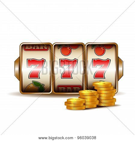Casino slot machine with coins.