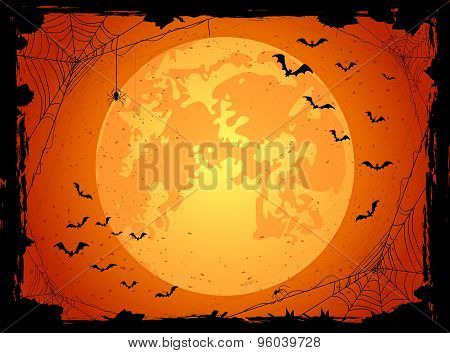 Dark Halloween Background With Bats