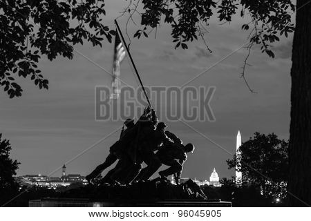 WASHINGTON, DC - SEPTEMBER 12, 2014: Iwo Jima Memorial in Washington DC. The Memorial honors the Marines who have died defending the US since 1775 and a prominent tourist attraction in Washington DC.