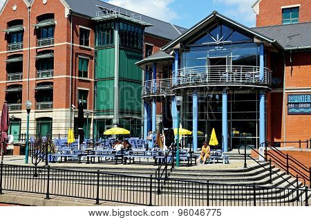 Pub along wharf, Nottingham.