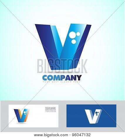 Letter V Blue Logo