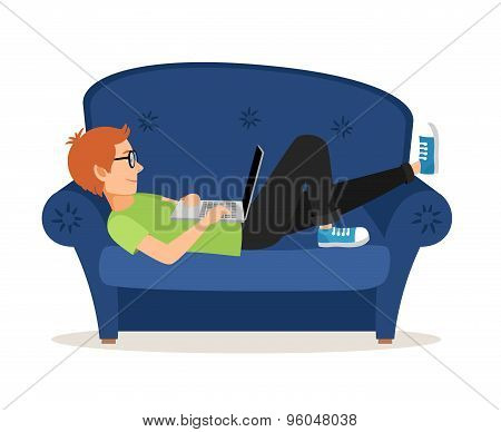 Man relaxing on couch and browsing social media or chatting