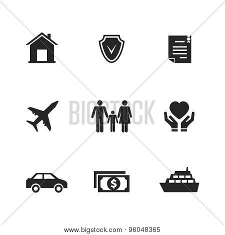Vector insurance icons with hands