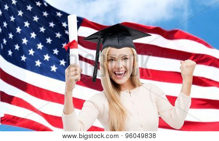 education, high school, knowledge, graduation and people concept - happy student girl or woman in trencher cap with diploma certificate over american flag background