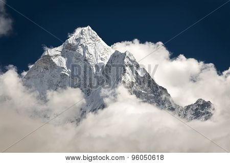 Mountain peak and the clouds