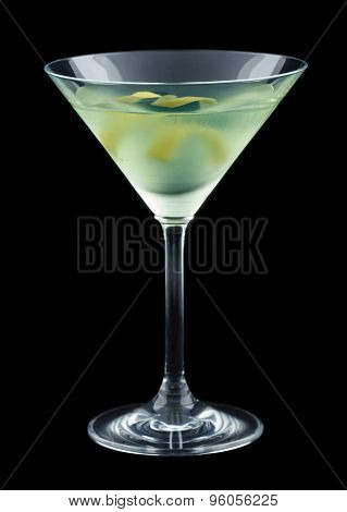 Bijou cocktail with lemon twist isolated on black background