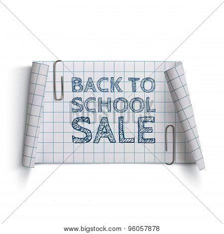 Back to School Sale, curved paper banner.