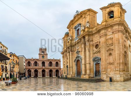 Main Square And Cathedral In Marsala, Sicily