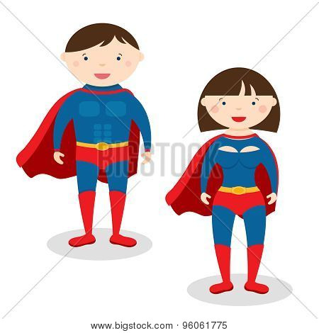 Illustration superman and superwoman