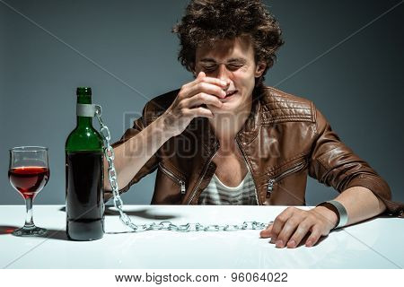 Alcoholic Drunk Man Drinking Wine, Feeling Depressed, Falling Into Addiction Problem