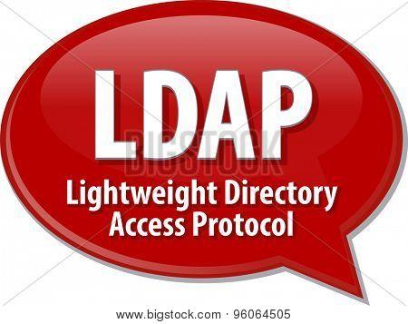 Speech bubble illustration of information technology acronym abbreviation term definition LDAP Lightweight Directory Access Protocol