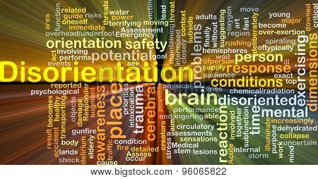 Background concept wordcloud illustration of disorientation glowing light