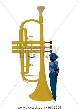 African american jazz musician on a trumpet on a white background poster