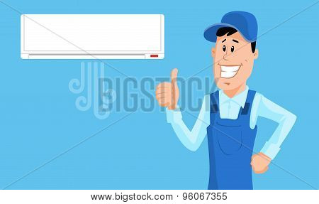 Worker Set The Air Conditioner And Show Thumb Up