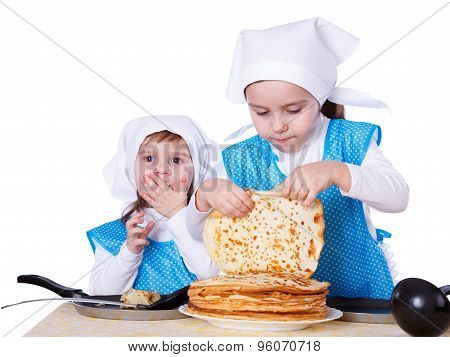 Little Children With Pancakes. Two Cute Girls Playing As Chefs. Surprise For Mothers Day. Isolated O