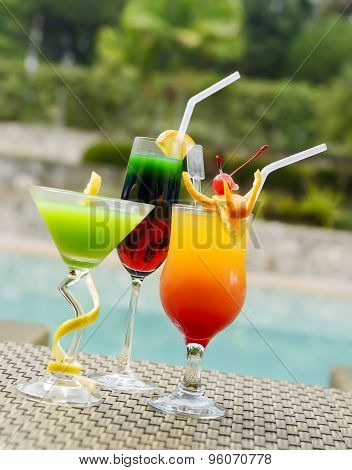 Multicolor Pool Cocktails