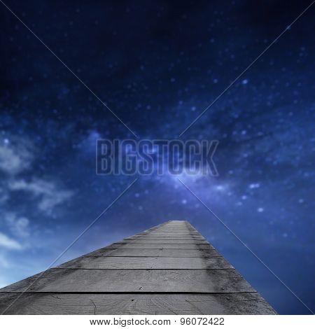 Wooden Bridge Into The Milkyway (blur Background)