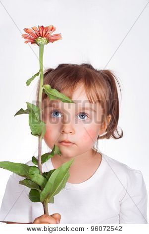 Little Girl With Atopic Dermatitis Symptom On Skin Of Cheeks Holding The Flower. Pollen Allergy.