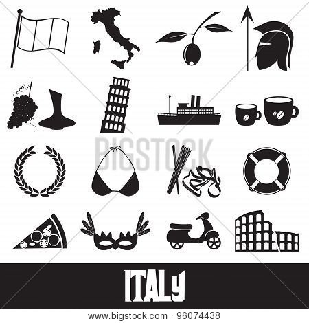Italy Country Theme Symbols And Icons Set Eps10