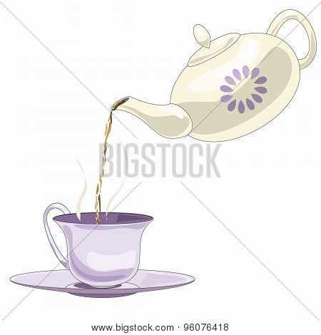 Teapot with black tea and tea pare