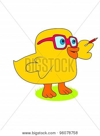 smart duckling with glasses and pencil