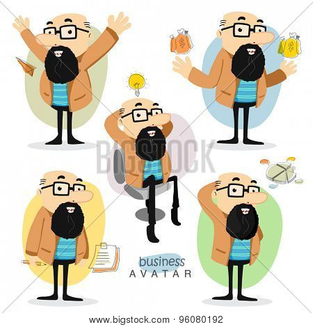 Creative illustration of a business man avatar in different pose and different business elements for your print, presentation and publication.