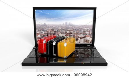 Suitcases on black laptop keyboard with city on screen, isolated