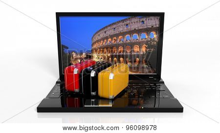Suitcases on black laptop keyboard with Rome on screen, isolated
