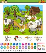 Cartoon Illustration of Education Mathematical Game for Preschool Children with Farm Animals poster