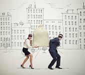 funny picture of happy couple of thieves carrying bag and looking at camera in drawing street poster