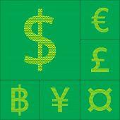 Currency symbol dollar, euro, yen, pound, baht. Vector illustration poster