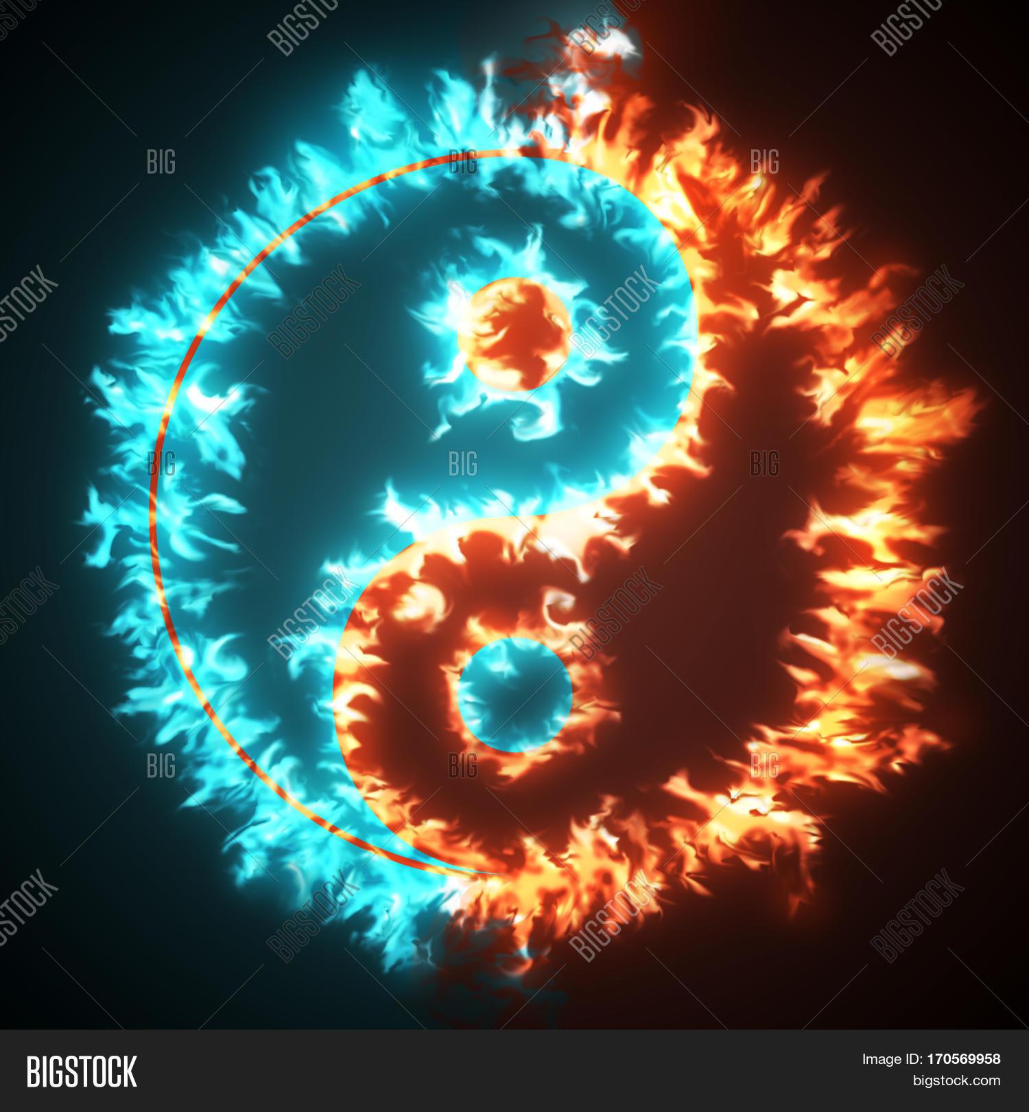 Yin yang symbol red blue fire image photo bigstock yin and yang symbol in red and blue fire concepts of the bad inside buycottarizona