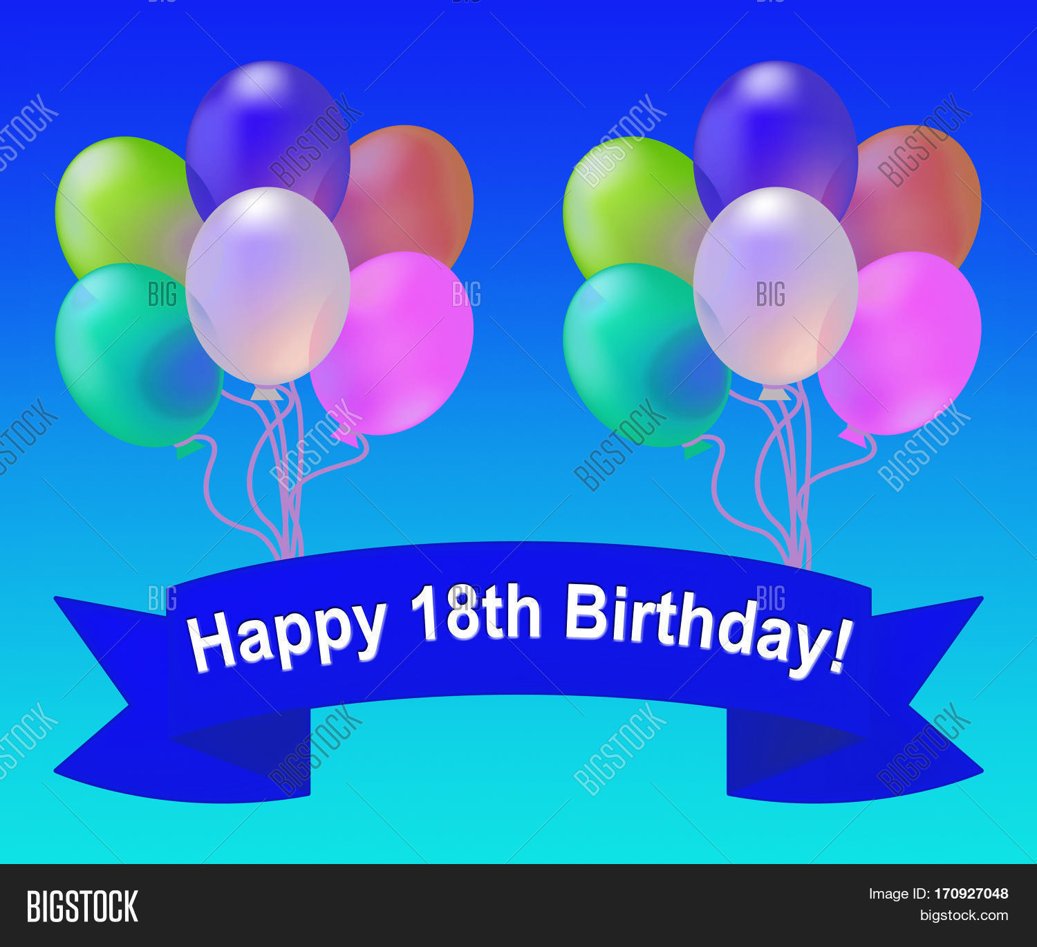 Happy Eighteenth Birthday Balloons Means 18th Party Celebration 3d Illustration