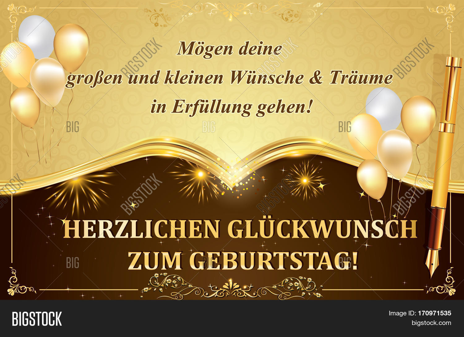 German birthday image photo free trial bigstock german birthday greeting card with balloons and gold frame may all your dreams and wishes m4hsunfo