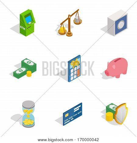 Money icons set. Isometric 3d illustration of 9 money vector icons for web