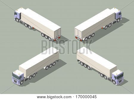 Truck with box semi-trailer in four views isometric icon vector graphic illustration design for Infographic