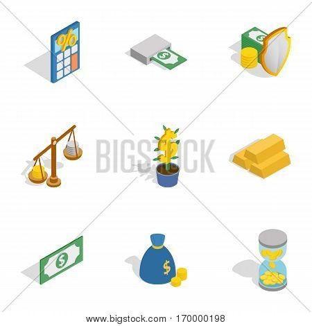Financial related icons set. Isometric 3d illustration of 9 financial related vector icons for web