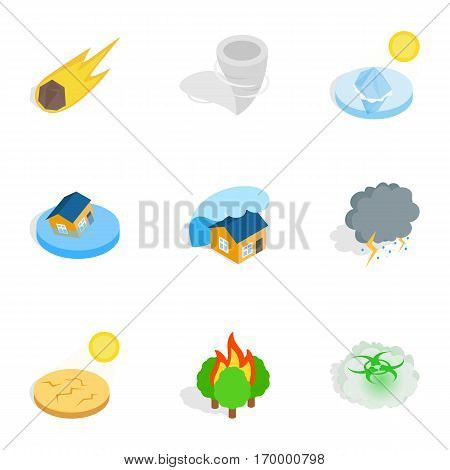 Civilization negative effects icons set. Isometric 3d illustration of 9 civilization negative effects vector icons for web
