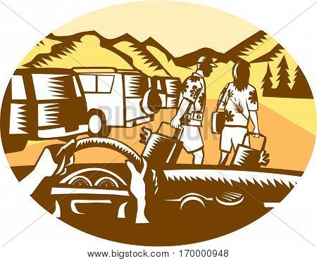 Illustration showing hands on steering wheel looking out of car windshield with man and woman wearing Hawaiian shirts pulling suitcases at a parking lot full of cars at the base a mountain set inside oval shape done in retro woodcut style.