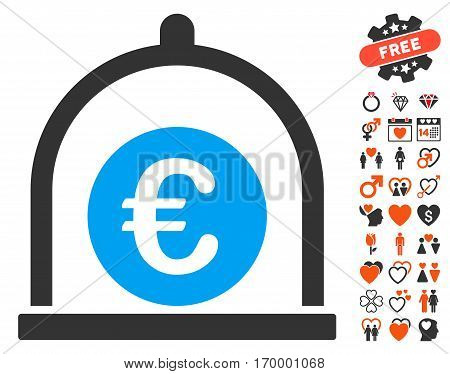 Euro Standard icon with bonus romantic symbols. Vector illustration style is flat iconic symbols for web design app user interfaces.