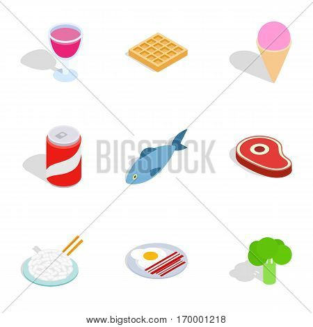 Dieting meal icons set. Isometric 3d illustration of 9 dieting meal vector icons for web