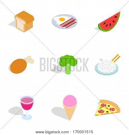 Cuisine menu icons set. Isometric 3d illustration of 9 cuisine menu vector icons for web