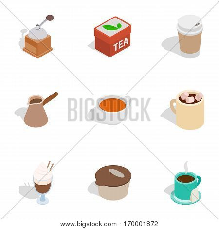 Coffee shop icons set. Isometric 3d illustration of 9 coffee shop vector icons for web