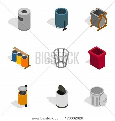 Trashcan icons set. Isometric 3d illustration of 9 trashcan vector icons for web
