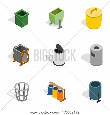 Garbage container icons set. Isometric 3d illustration of 9 garbage container vector icons for web