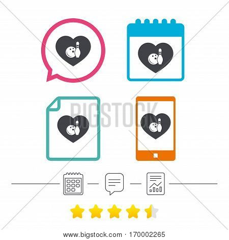 Love Bowling game sign icon. Ball with pin skittle symbol. Calendar, chat speech bubble and report linear icons. Star vote ranking. Vector