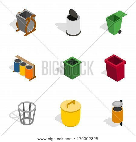 Trash can icons set. Isometric 3d illustration of 9 trash can vector icons for web