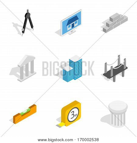 Architecture icons set. Isometric 3d illustration of 9 architecture vector icons for web