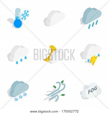 Meteorology icons set. Isometric 3d illustration of 9 meteorology vector icons for web